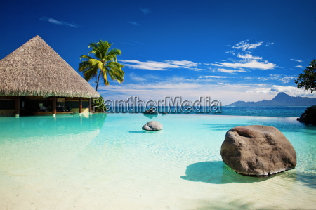 infinity pool with artificial beach