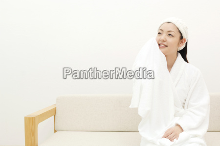 woman after taking a bath