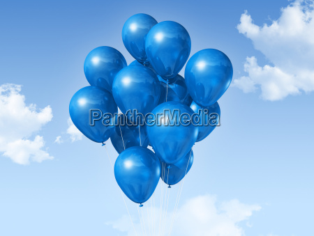 blue balloons on a blue sky