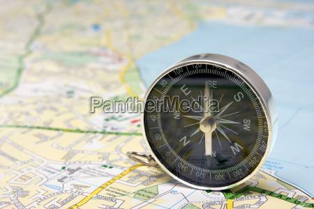 compass on dublin city map