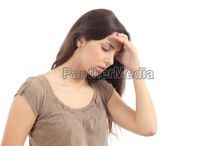 woman with a headache and her