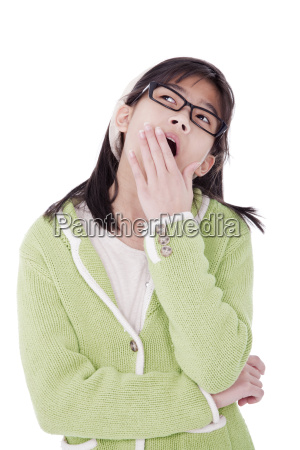 girl in green sweater and glasses