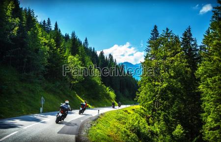 bikers in mountainous tour