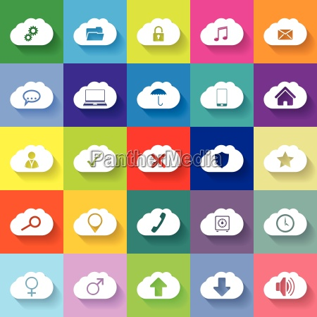 cloud networking flat icon set of