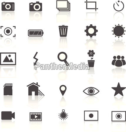 photography icons with reflect on white