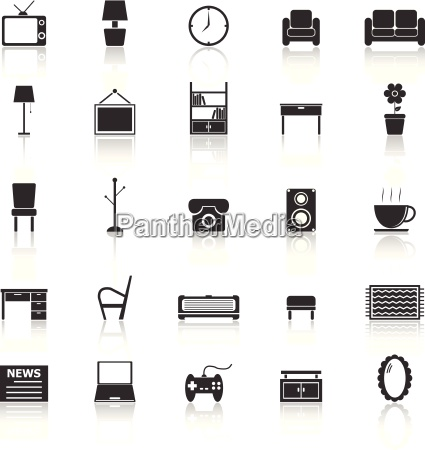 living room icons with reflect on
