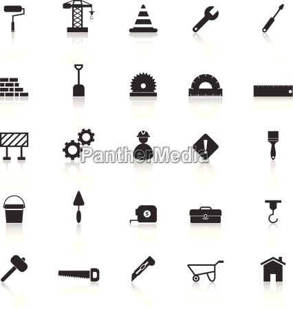 construction icons with reflect on white