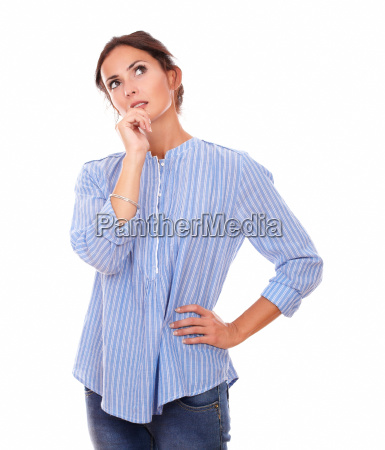 pensive adult lady wondering and looking