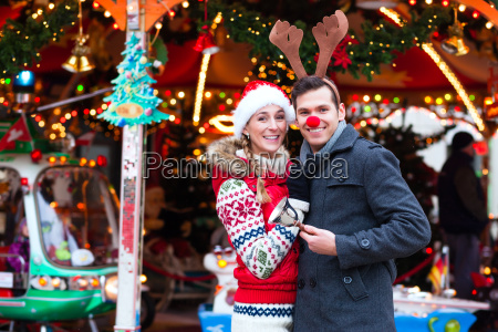 paches at the christmas market during