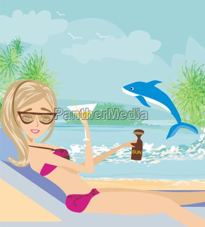 sexy beach girl near sea water