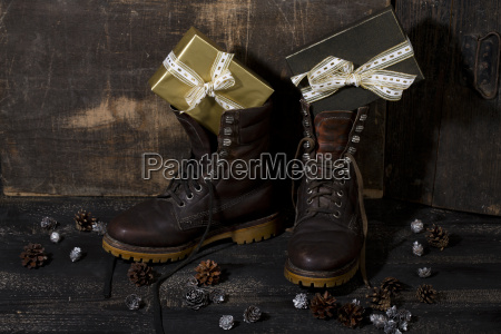 winter, boots, filled, with, gifts - 13070374