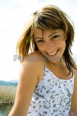 woman blue laugh laughs laughing twit