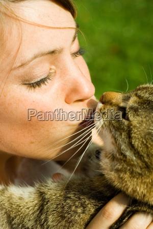 woman female garden animal pet mammal