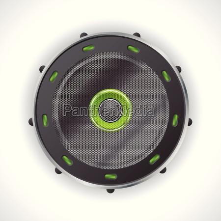 cool speaker design with green leds