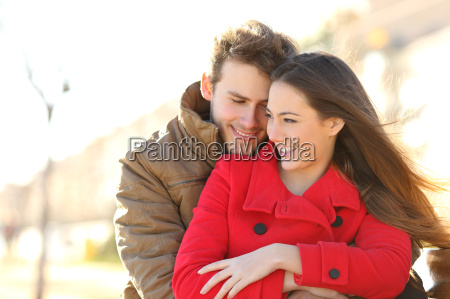 couple dating and hugging in love