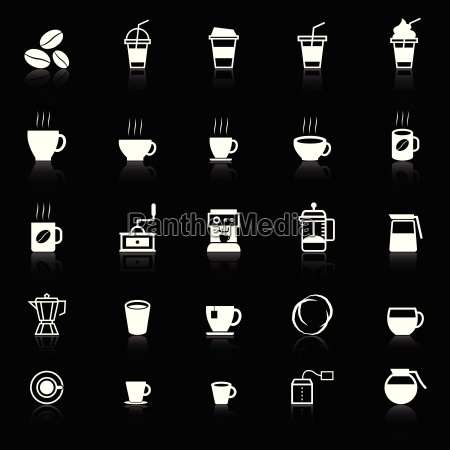 coffee icons with reflect on black