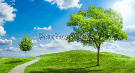 idyllic landscape with cloudy sky