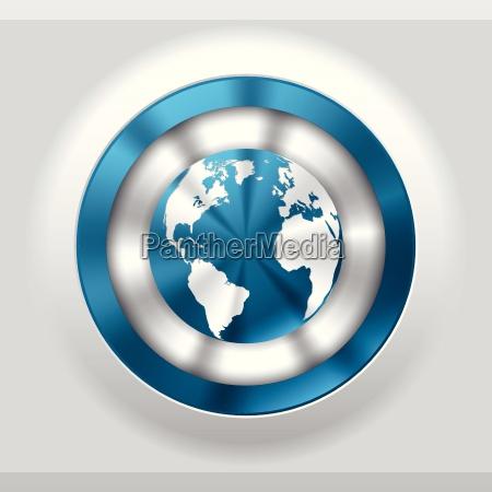 cool metallic button with blue globe