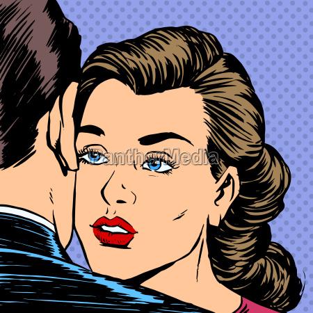woman hugging man with the sad