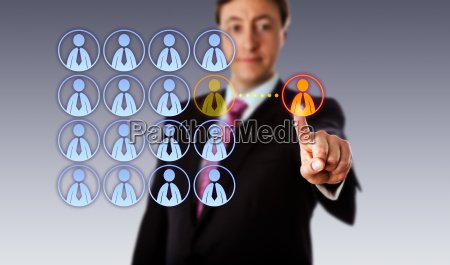 smiling manager outsourcing to a male