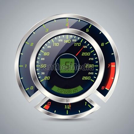 metallic speedometer with big rev counter