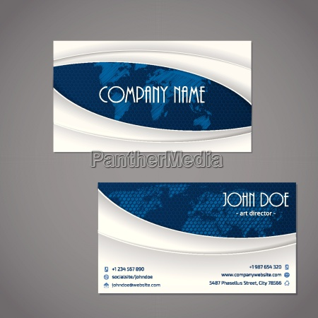 blue scribbled map business card template