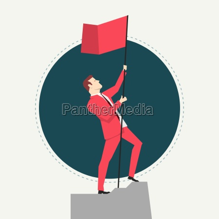 businessman in red suit victory flat