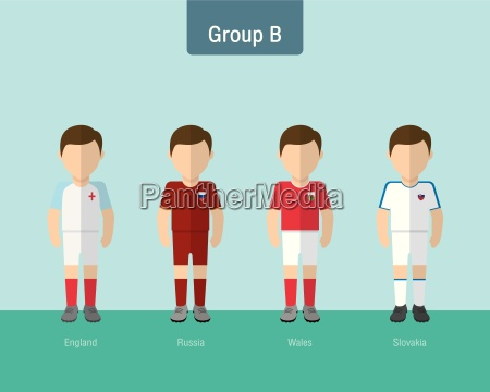 soccer uniform group b flat design