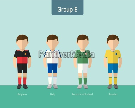 soccer uniform group e flat design