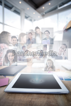composite image of business people having