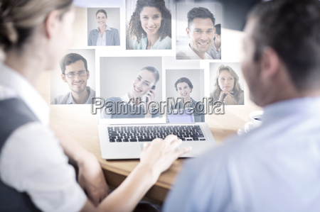 composite image of portrait of business