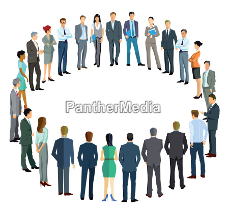 business people forming a circle