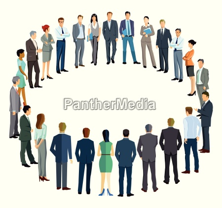 business people form a circle