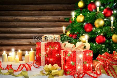 elegant decoration for christmaswith christmas treecandles