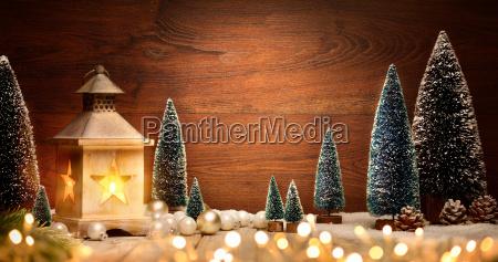 christmas arrangement with lanterntreesballs and lightscopy