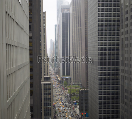 elevated view of rush hour between