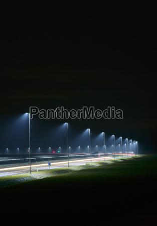 night shot of new road built