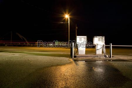 fuel pumps at night