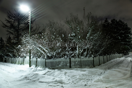 snow covered picket fence and trees
