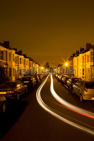 residential street at night time with