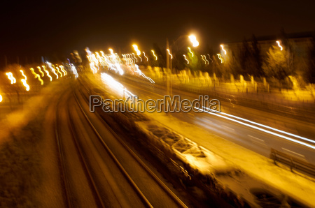 blurred view of train tracks at