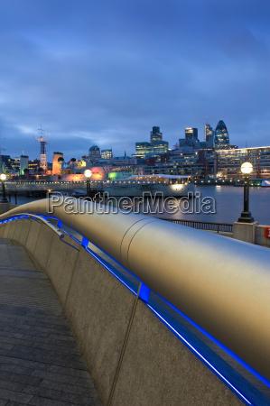 illuminated handrail on city street