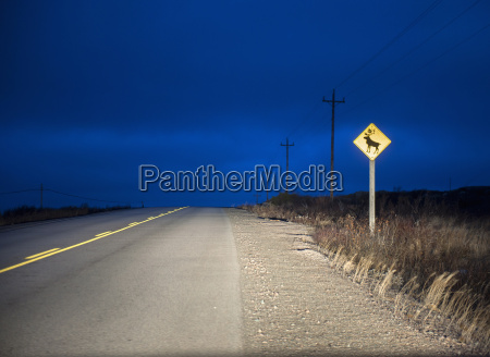 reindeer warning sign on rural road