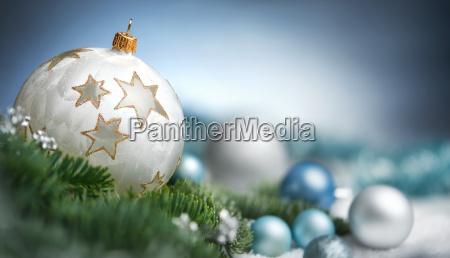 christmas balls arrangement in closeupwith copy