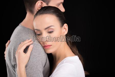 portrait of pensive woman bonding to