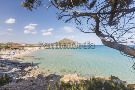 mediterranean vegetation frames the bay and
