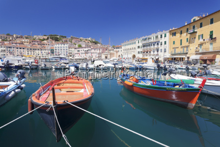 harbour with fishing boats portoferraio island