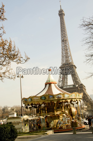 france paris eiffel tower and carousel