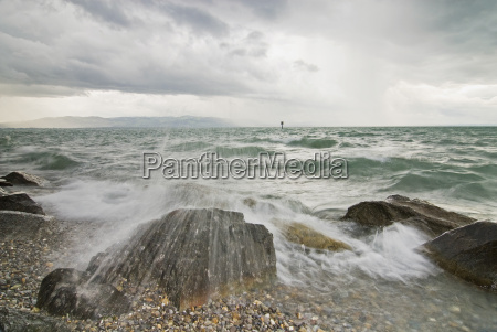 germany bodensee nonnenhorn breaking waves and