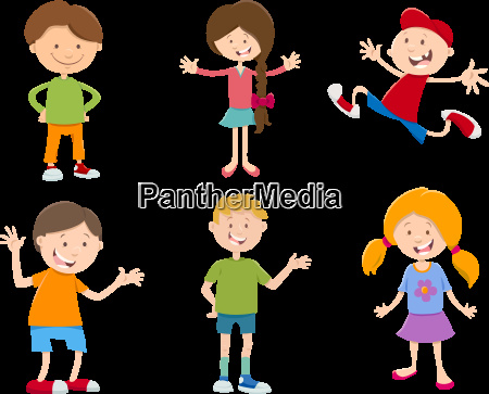 cartoon set of children